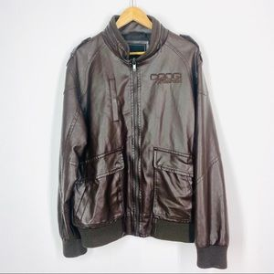 Coogi Faux Leather Coat Brown Large